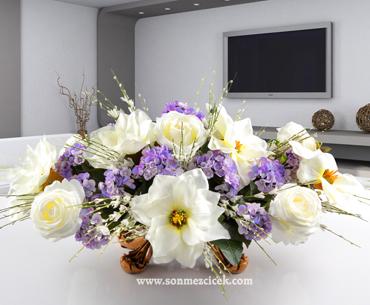 Yapay Çiçek - Mor Beyaz Uyumu