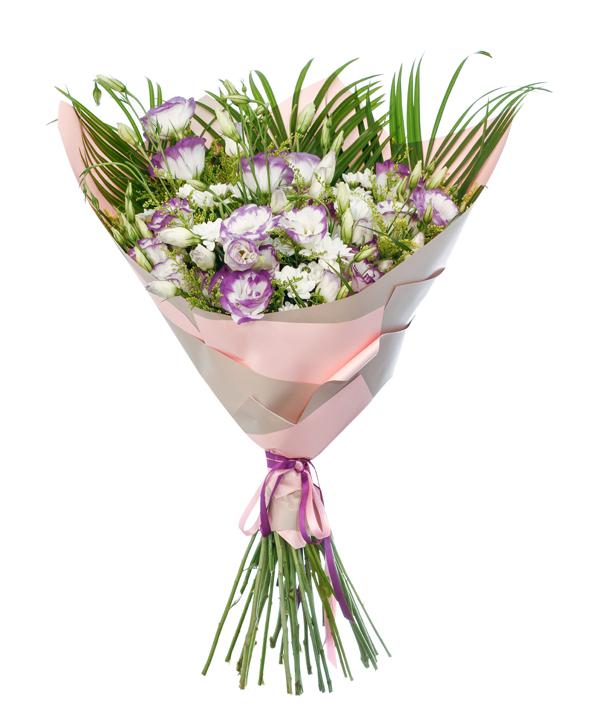 Mor Beyaz Lisyantus Çiçeklerinden Harika Tasarým Buket